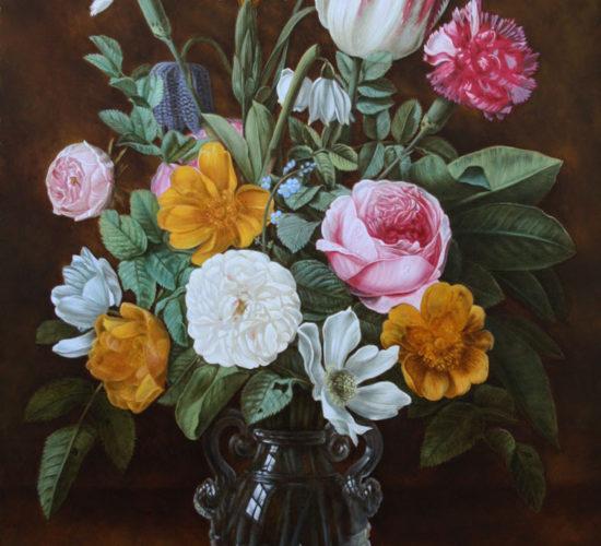 """Kopie van """"Stilleven van bloemen in een glazen vaas"""" door Jan Philip Thielen"""